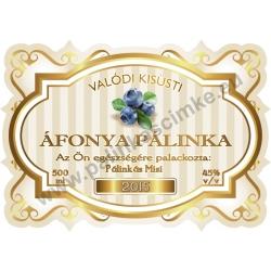 """Áfonya pálinka címke - """"Golden Age"""""""
