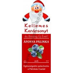 """Áfonya karácsonyi pálinka címke - """"Santa"""""""