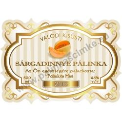 """Sárga dinnye pálinka címke - """"Golden Age"""""""