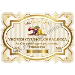 """Vegyesgyümölcs pálinka címke - """"Golden Age"""""""