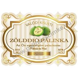 """Zöld dió pálinka címke - """"Golden Age"""""""