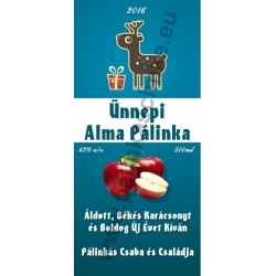 "Alma karácsonyi pálinka címke - ""Christmas deer"""