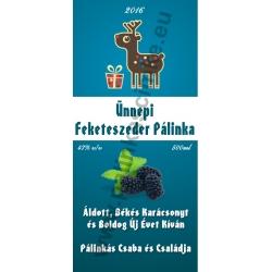 "Feketeszeder karácsonyi pálinka címke - ""Christmas deer"""