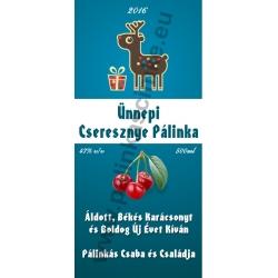 """Cseresznye karácsonyi pálinka címke - """"Christmas deer"""""""