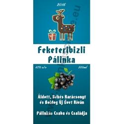 """Feketeribizli karácsonyi pálinka címke - """"Christmas deer"""""""
