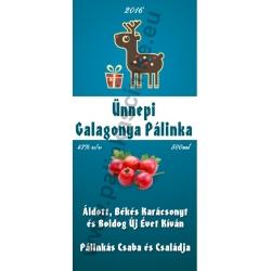 """Galagonya karácsonyi pálinka címke - """"Christmas deer"""""""