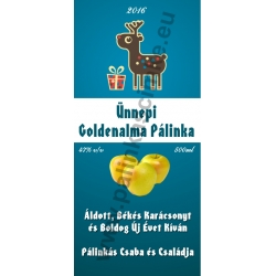 "Golden alma karácsonyi pálinka címke - ""Christmas deer"""