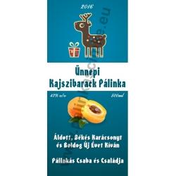 """Kajszibarack karácsonyi pálinka címke - """"Christmas deer"""""""