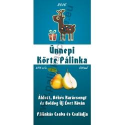 """Körte karácsonyi pálinka címke - """"Christmas deer"""""""