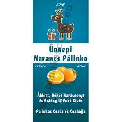 "Narancs karácsonyi pálinka címke - ""Christmas deer"""