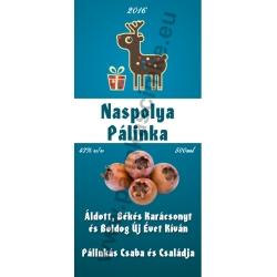 """Naspolya karácsonyi pálinka címke - """"Christmas deer"""""""