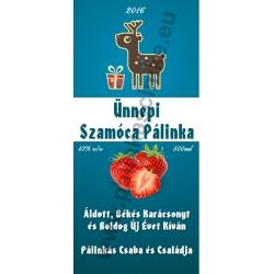 "Szamóca karácsonyi pálinka címke - ""Christmas deer"""