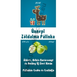 "Zöld alma karácsonyi pálinka címke - ""Christmas deer"""