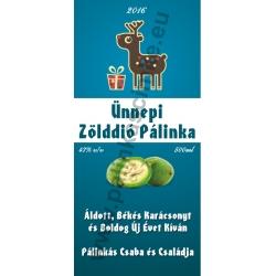 """Zöld dió karácsonyi pálinka címke - """"Christmas deer"""""""