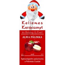 """Alma karácsonyi pálinka címke - """"Santa"""""""