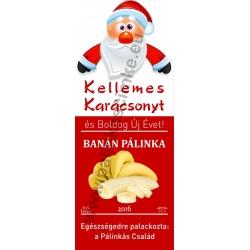 """Banán karácsonyi pálinka címke - """"Santa"""""""