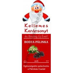 """Bodza karácsonyi pálinka címke - """"Santa"""""""