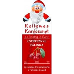 """Cseresznye karácsonyi pálinka címke - """"Santa"""""""