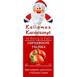 """Csipkebogyó karácsonyi pálinka címke - """"Santa"""""""
