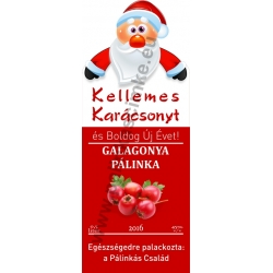 """Galagonya karácsonyi pálinka címke - """"Santa"""""""