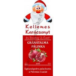 """Gránátalma karácsonyi pálinka címke - """"Santa"""""""