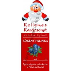 """Kökény karácsonyi pálinka címke - """"Santa"""""""