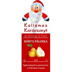"""Körte karácsonyi pálinka címke - """"Santa"""""""