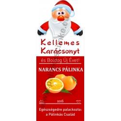 """Narancs karácsonyi pálinka címke - """"Santa"""""""