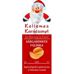 """Sárgadinnye karácsonyi pálinka címke - """"Santa"""""""