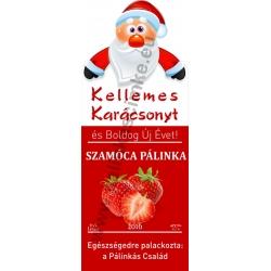 """Szamóca karácsonyi pálinka címke - """"Santa"""""""