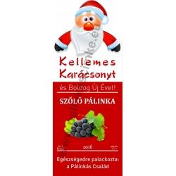 """Szőlő kék karácsonyi pálinka címke - """"Santa"""""""