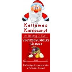 """Vegyesgyümölcs karácsonyi pálinka címke - """"Santa"""""""