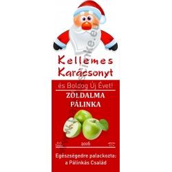 """Zöld alma karácsonyi pálinka címke - """"Santa"""""""