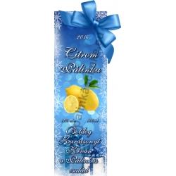 """Citrom karácsonyi pálinka címke - """"Xmas blue"""""""