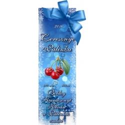 """Cseresznye karácsonyi pálinka címke - """"Xmas blue"""""""