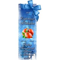 """Csipkebogyó karácsonyi pálinka címke - """"Xmas blue"""""""