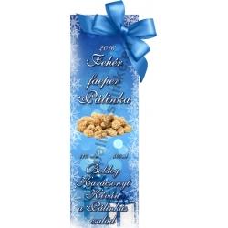 """Faeper fehér karácsonyi pálinka címke - """"Xmas blue"""""""