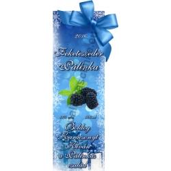 """Fekete szeder karácsonyi pálinka címke - """"Xmas blue"""""""