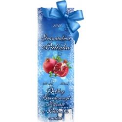 """Gránátalma karácsonyi pálinka címke - """"Xmas blue"""""""