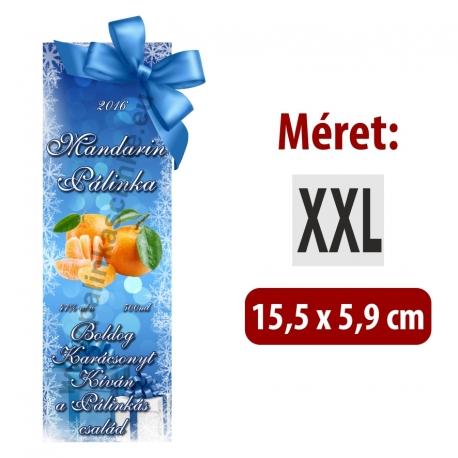 """Mandarin karácsonyi pálinka címke - """"Xmas blue"""""""