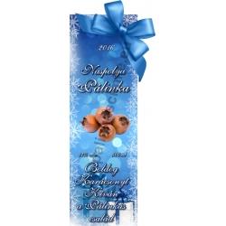 "Naspolya karácsonyi pálinka címke - ""Xmas blue"""