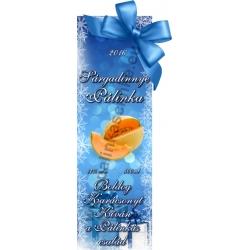 """Sárga dinnye karácsonyi pálinka címke - """"Xmas blue"""""""