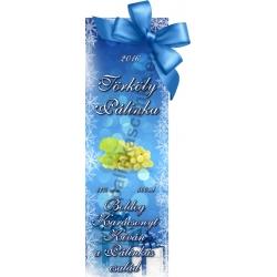 """Törköly fehér karácsonyi pálinka címke - """"Xmas blue"""""""