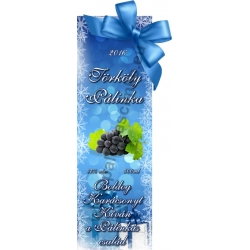 """Törköly kék karácsonyi pálinka címke - """"Xmas blue"""""""