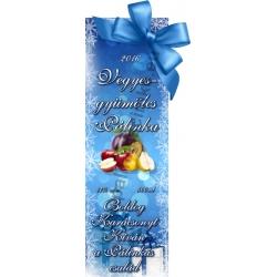 """Vegyesgyümölcs karácsonyi pálinka címke - """"Xmas blue"""""""