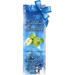 """Zöld alma karácsonyi pálinka címke - """"Xmas blue"""""""