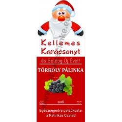 """Törköly kék karácsonyi pálinka címke - """"Santa"""""""