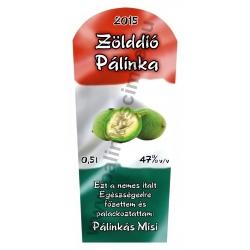 """Zöld dió pálinka címke - """"TRICOLOR"""""""