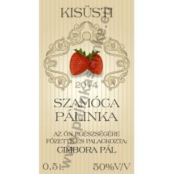 """Szamóca pálinkás címke - """"traditional"""""""
