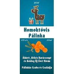 """Homoktövis karácsonyi pálinka címke - """"Christmas deer"""""""